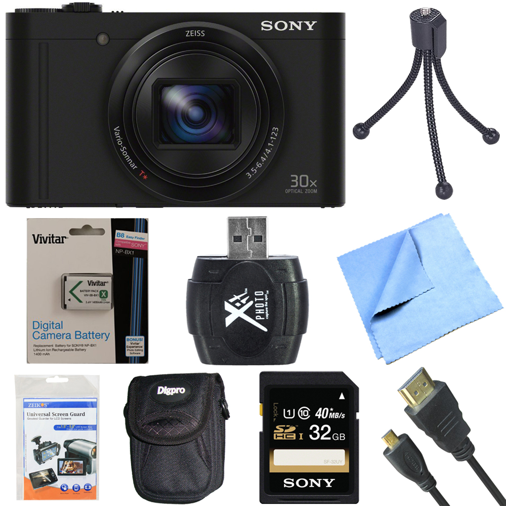 Sony Cyber-Shot DSC-WX500/B WX500B WX500 Digital Camera Black 32GB Bundle includes Cyber-Shot DSC-WX500 Digital Camera, screen protectors, compact carrying case, 32GB memory card, card reader, mini t