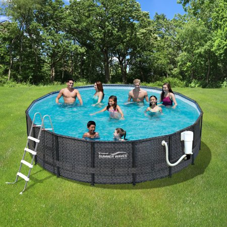 Summer Waves Elite Dark Wicker 15-ft Round Metal Frame Pool Package - 48-in (Complete Round Pool Package)