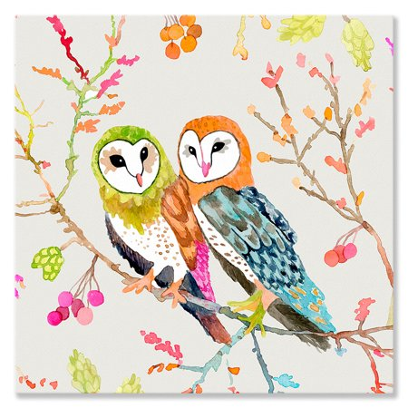 Oopsy Daisy - Canvas Wall Art Woodland Watercolor - Barn Owls 18x18 By Betsy - Watercolor Daisy