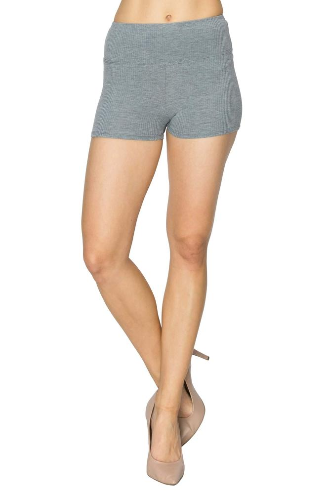 Salt Tree Women/'s Solid Sporty Waistband Fitted Ribbed Knit Shorts