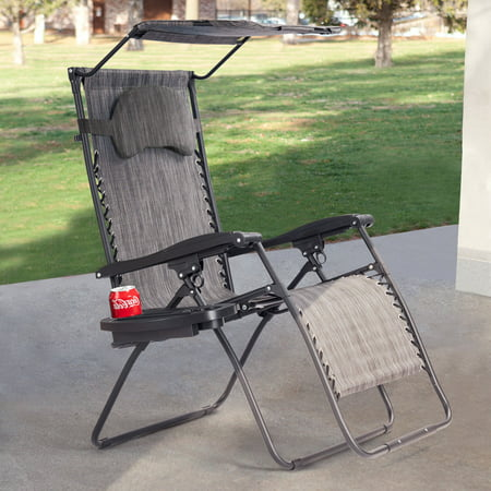Gymax Folding Recliner Zero Gravity Lounge Chair W/ Shade Canopy Cup Holder Gray - image 10 of 10