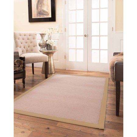 Natural Area Rugs  100%, Natural Fiber Handmade Eloise, Pink Wool Rug, Wheat Border - 2' x 3' ()