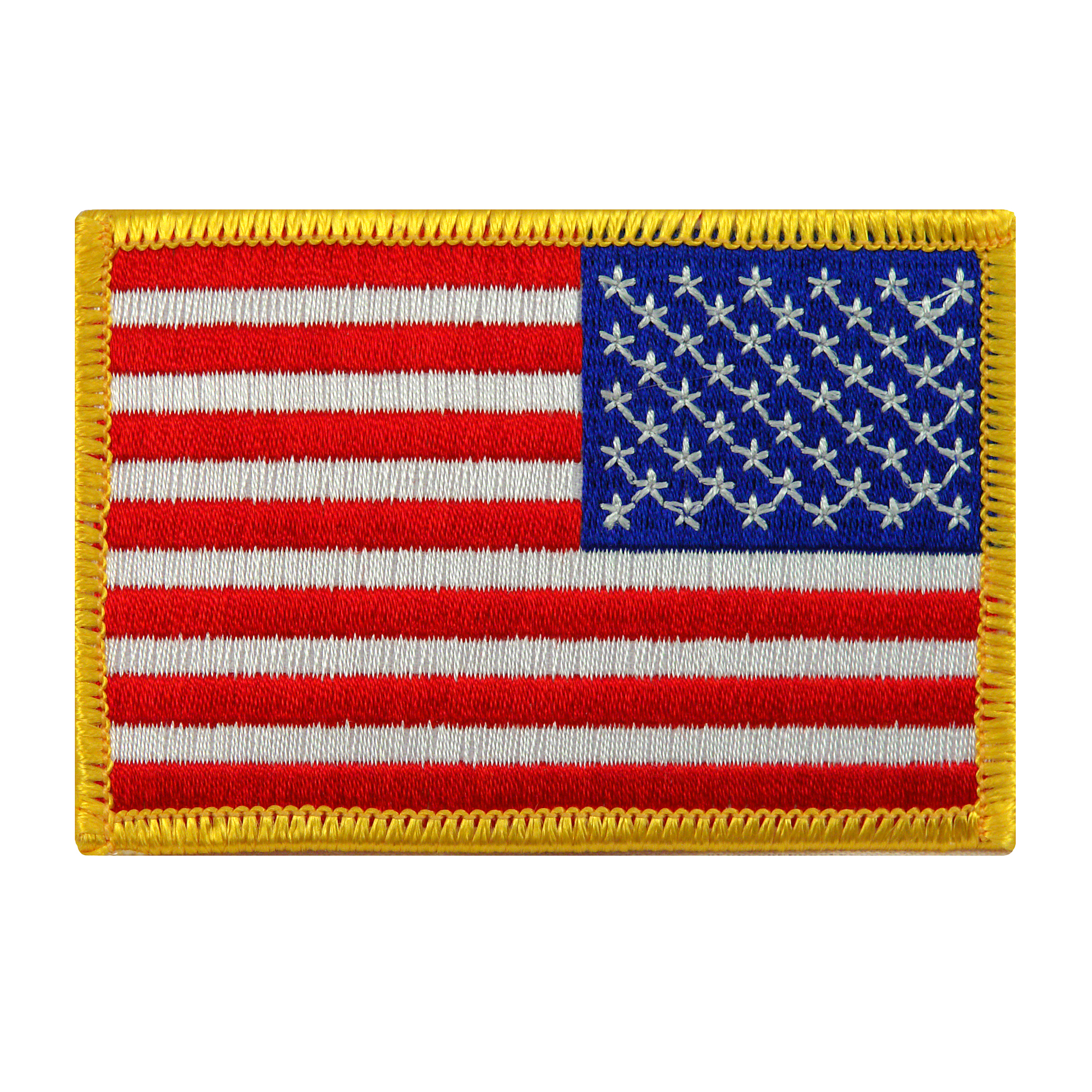 American Flag Reversed Iron-on Embroidered Patch Gold Border