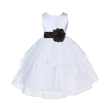 Ekidsbridal Formal Satin Shimmering Organza White Flower Girl Dress Bridesmaid Wedding Pageant Toddler Recital Easter Communion Graduation Reception Ceremony Birthday Baptism Occasions - The Purge White Dress