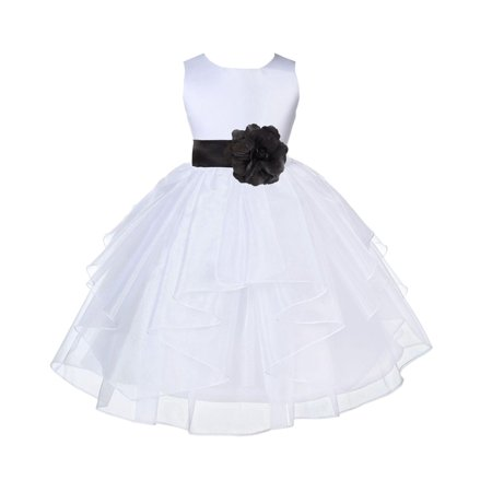 Ekidsbridal Formal Satin Shimmering Organza White Flower Girl Dress Bridesmaid Wedding Pageant Toddler Recital Easter Communion Graduation Reception Ceremony Birthday Baptism Occasions (Dress White Brooch)
