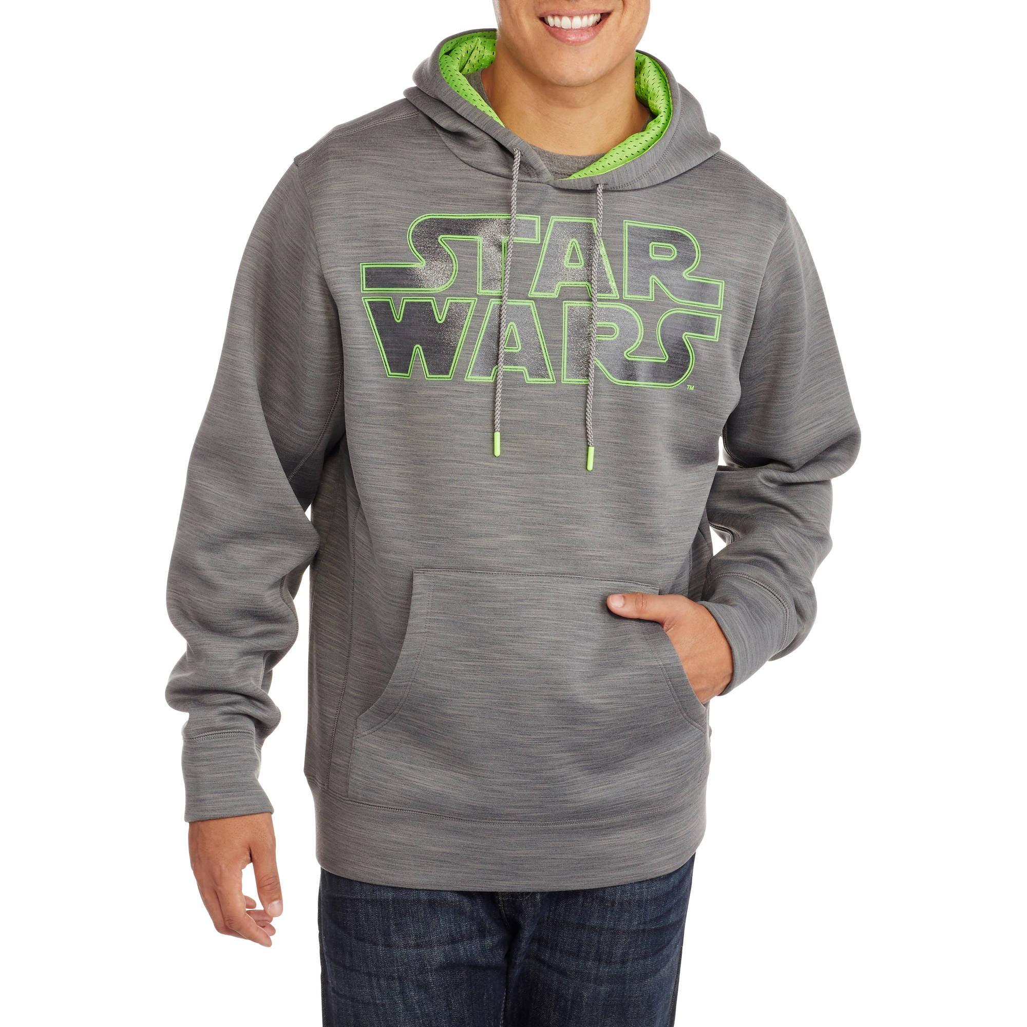 Star Wars Big Men's Glow in the Dark Poly Fleece Pullover Hoodie, 2XL