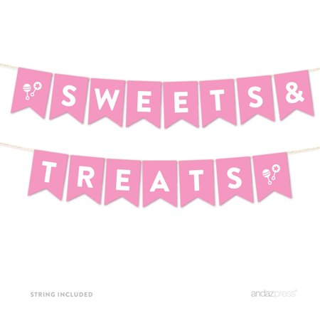 Sweets & Treats Pink Girl Baby Shower Hanging Pennant Garland Party Banner - Trick Or Treat Banner