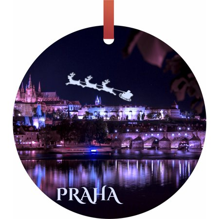 Halloween Over Bring On Christmas (Santa and Sleigh Over The Charles Bridge, Prague Flat Round - Shaped Christmas Holiday Ornament - Double-Sided - Made in the)