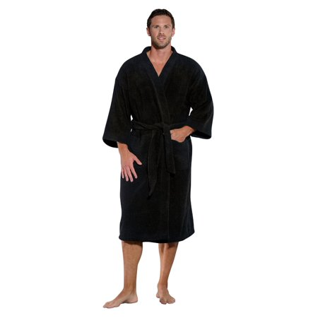 100% Turkish Cotton Men and Women Premium Terry Kimono Bathrobe Made in Turkey (Black, One Size)