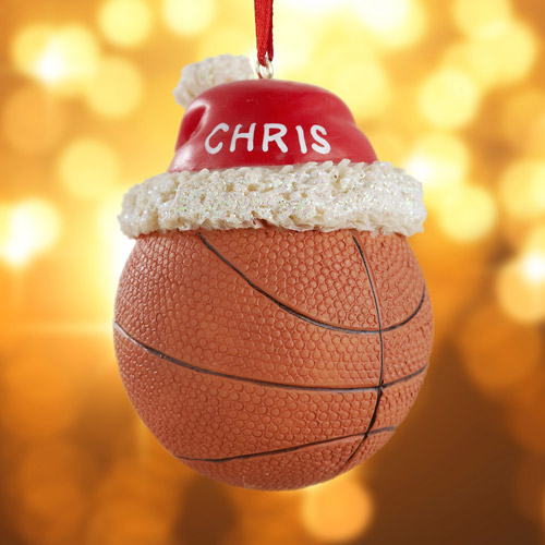 Personalized Basketball with Santa Hat Ornament