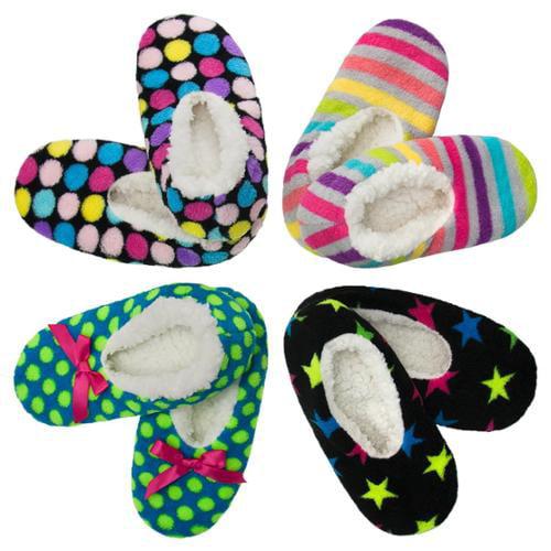 4pk Ladies Warm & Cozy Feet Fuzzy Slippers Non-Slip Lined Socks Booties Indoor WOMENS SHOE SIZE 7-9