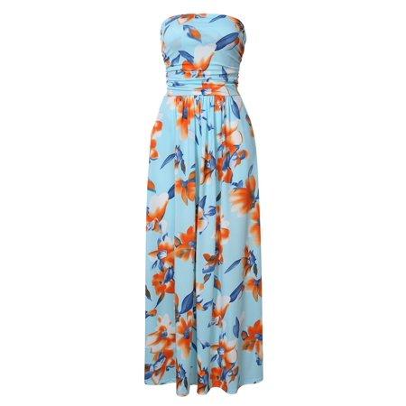 Liebeye Women Floral Sleeveless Empire Waist Strapless Beach Maxi