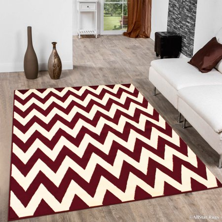 Allstar Red Woven Hand Carved Chevron Geometric Area Rug (3' 9