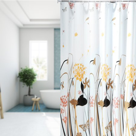 """PEVA 71"""" x 71"""" Shower Curtain with Hooks for Bath Bathtbs Dandelion Pattern - image 4 of 7"""