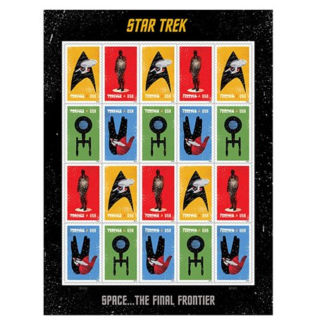 Star trek Sheet of 20 USPS Forever Postage Stamps Starship Enterprise Starfleet insignia