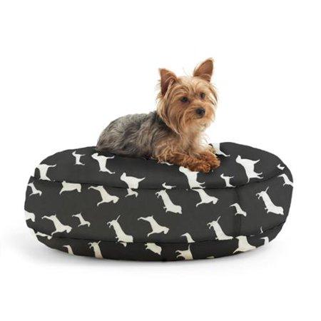 Amazing Dogsack Round Memory Foam Black White Dog Print Twill Pet Machost Co Dining Chair Design Ideas Machostcouk