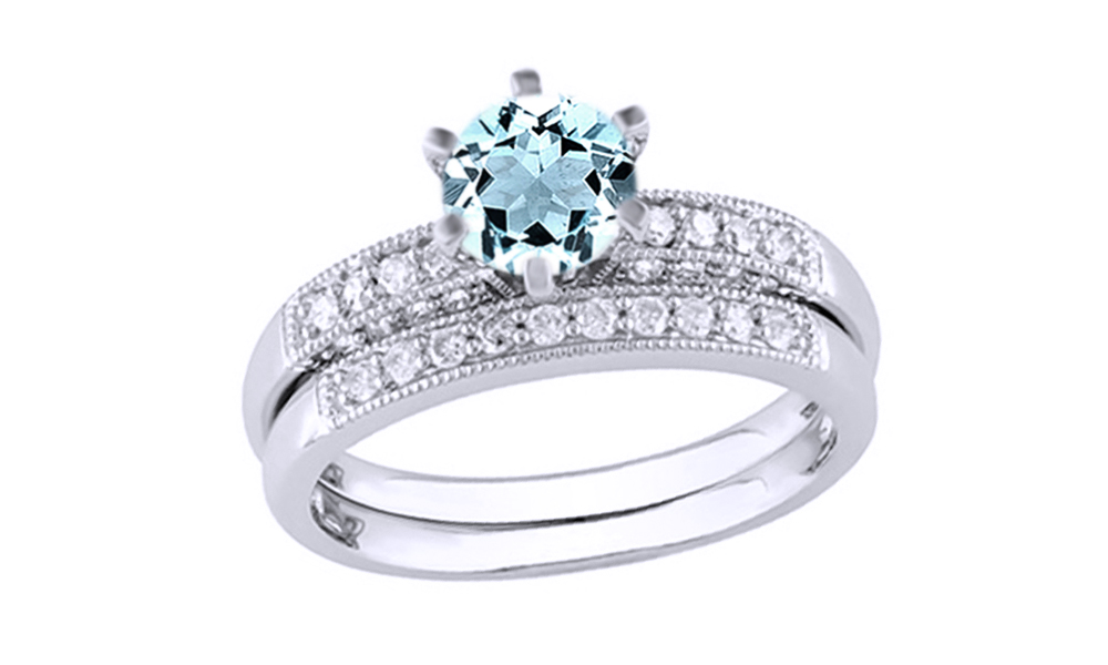 Simulated Aquamarine Cubic Zirconia & White Natural Diamond Wedding Ring Set In 10k Solid Gold By Jewel Zone US (0.33... by Jewel Zone US