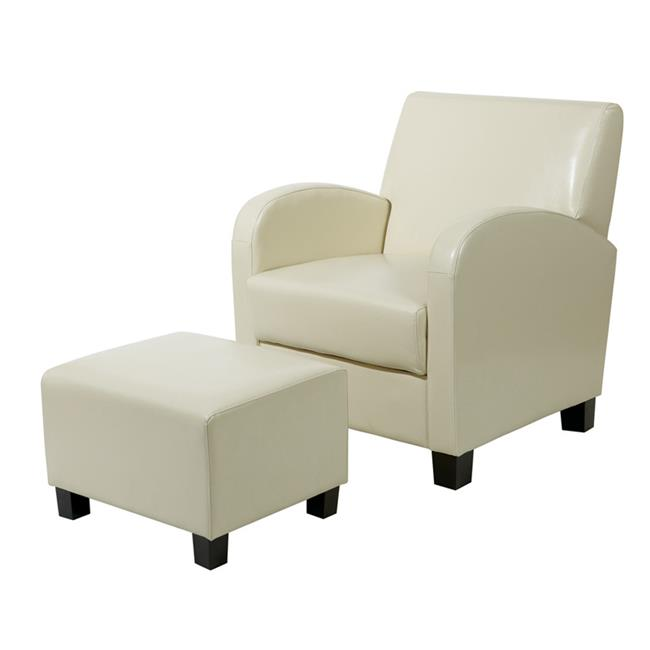 Avenue 6 Office Star MET807CM Cream Faux Leather Club Chair with Ottoman by