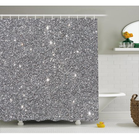 white and silver shower curtain. Silver Shower Curtain Set  Glamour Glitters Themed Luxury Shiny Sparkle Stars Lights Christmas Night Illustration