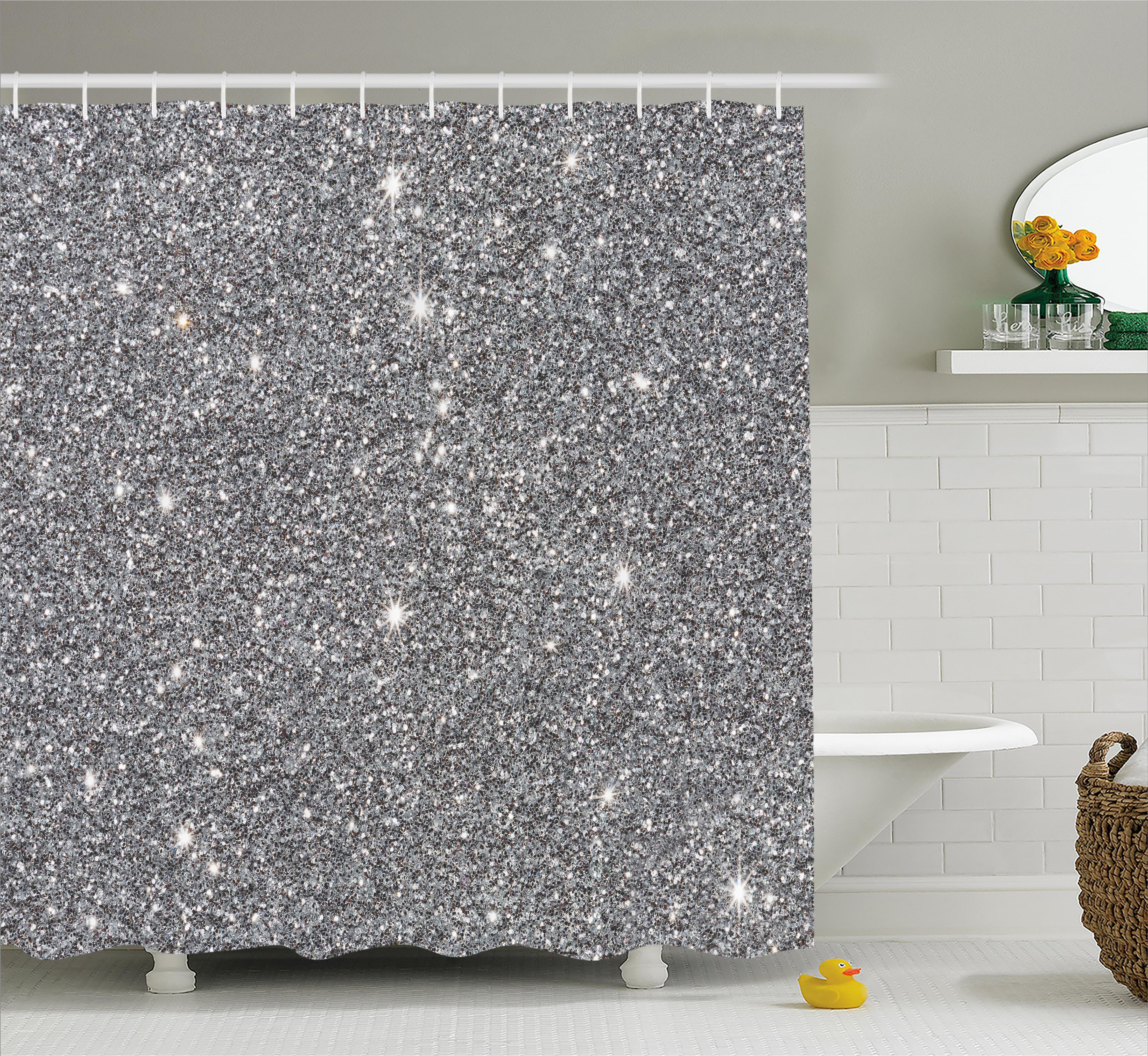 Lovely Silver Shower Curtain Set, Glamour Glitters Themed Luxury Shiny Sparkle  Stars Lights Christmas Night Illustration, Bathroom Decor, Grey White, By  Ambesonne ...