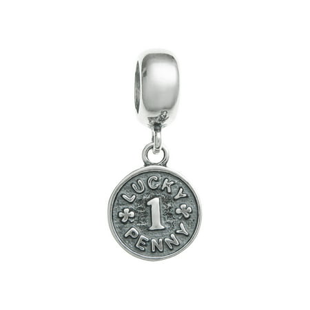 Queenberry Sterling Silver Lucky Penny Coin European Style Bead Charm Fits Pandora