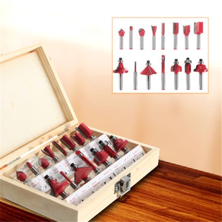 15Pcs Router Bit Set Wood Working 1/4'' Shank Tungsten Carbide Rotary Tool Kit - image 1 of 8