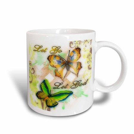 3dRose Let Go Let God butterfly digital print, Ceramic Mug, 11-ounce - Ceramic Butterfly