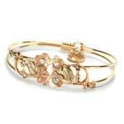Sweet Romance Flower Victorian Bangle Bracelet Gold