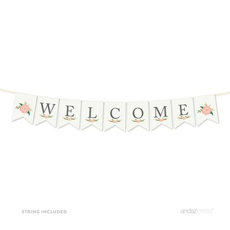 Girl Baby Shower Banner (Welcome Floral Roses Girl Baby Shower Pennant Party)