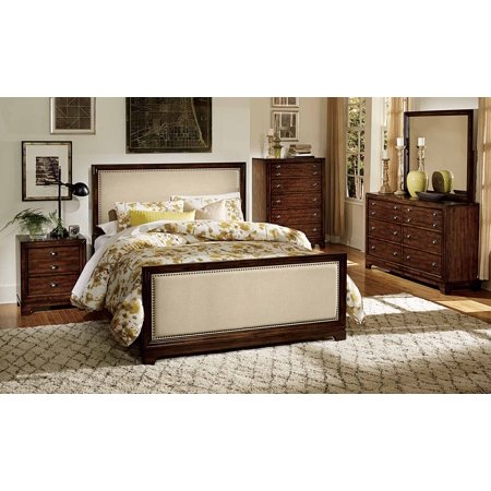 Benclaire French Country Queen 4 Piece Bedroom Set In Dark Walnut