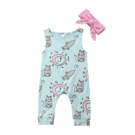 Alarm Clock Summer Newborn Toddler Baby Girl Sleeveless Clothes Romper Bodysuit + Headband Sunsuit Cotton Outfit Set