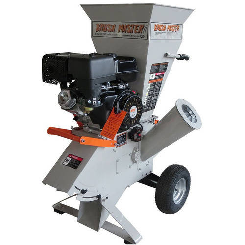 "Brush Master 4""x 3"" Electric Start 420cc Chromium Steel Gas Wood Chipper with Tow Bar"