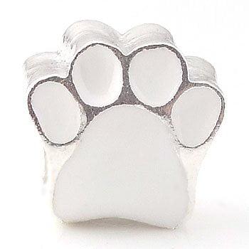 Q28 Enamel White Dog Paw Bead Fits Most Major Charm Bracelets. Style Bracelet [Jewelry]