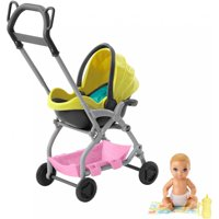 Barbie Skipper Babysitters Inc. Doll and Playset, Small Baby Doll with 2-in-1 Stroller