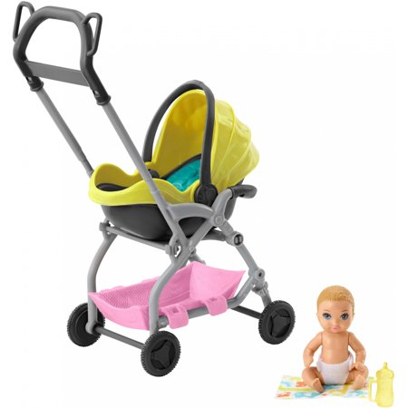 Barbie Skipper Babysitters Inc. Doll and Playset, Small Baby Doll with 2-in-1