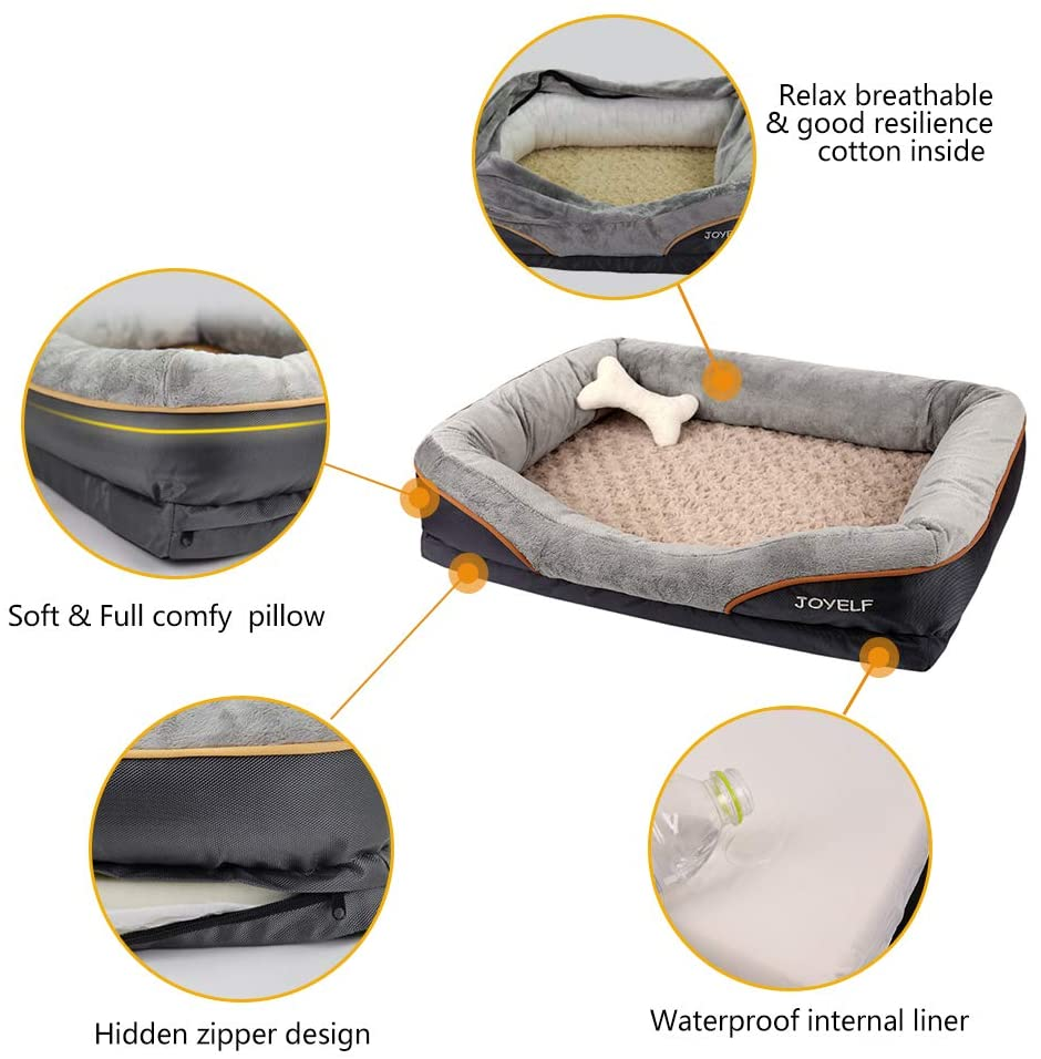 Joyelf Orthopedic Dog Bed Memory Foam Pet Bed With Removable Washable Cover And Squeaker Toy As Gift Walmart Com Walmart Com