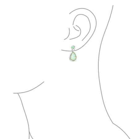 White Created Opal Iridescent Teardrop Pear Shaped Dangle Earrings For Women 925 Sterling Silver October Birthstone - image 2 of 4