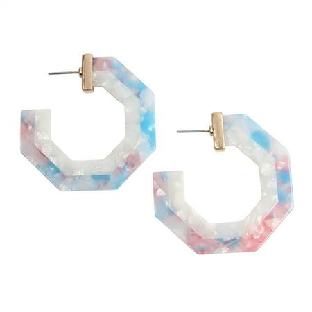 Riah Fashion Polygon Resin Hoop Earrings