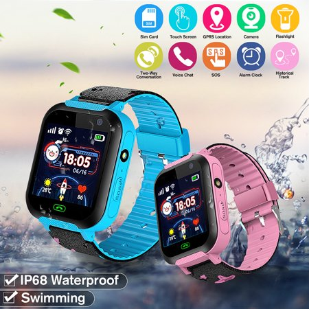 [Swimming Watch] Kids Smart Watch LBS GPRS IP68 Swimming Sim Card Watch With Flashlight, Camera, Mic Support Voice Chat, Emergency Call, Two-way Call, Alarm Clock, Phone Book for