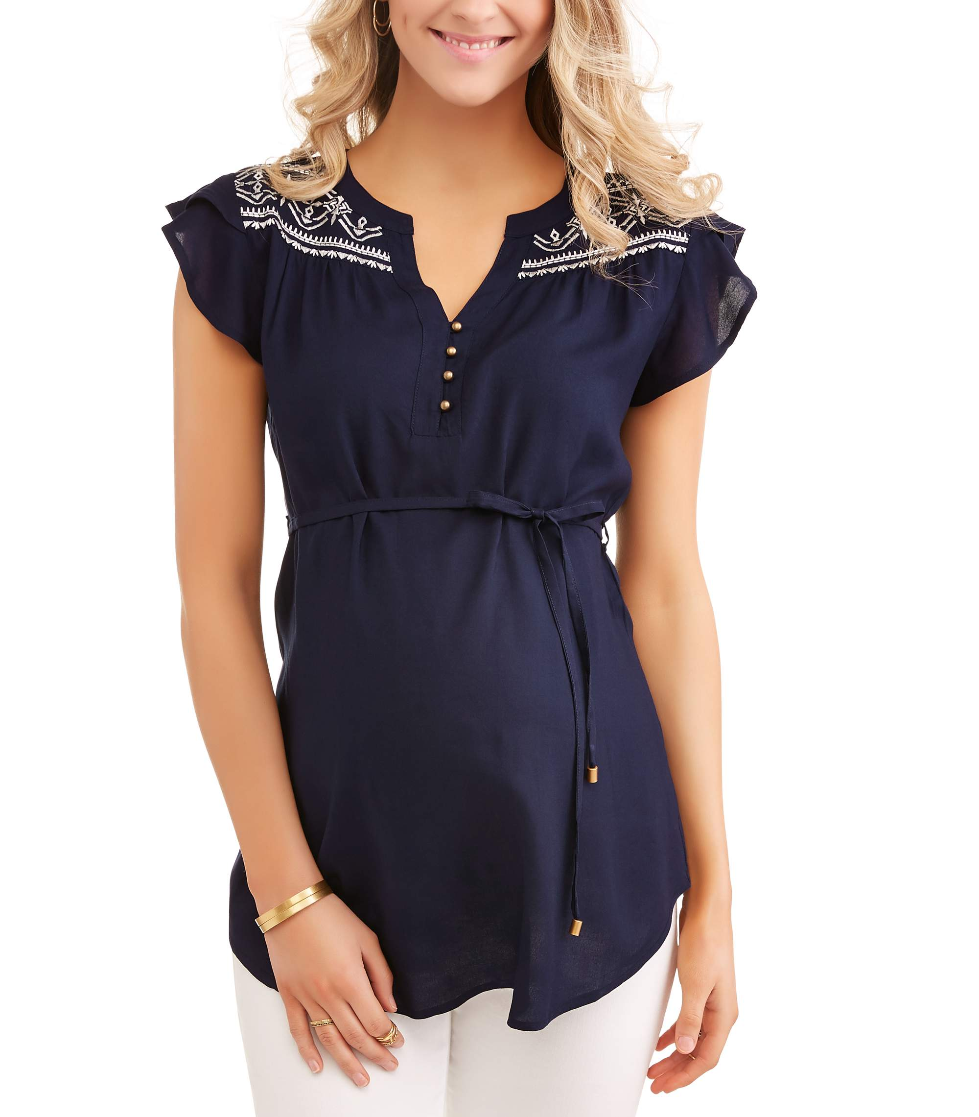 Maternity Embroidered Yoke Tunic with Self Belt--Available in Plus Size by FRED DAVID INTL USA INC