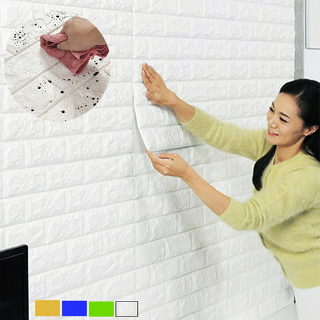 Grtsunsea 57sq.ft Roll Wall Paper Removable Waterproof 3D Embossed Effect Brick Stone Wall Sticker Vinyl Wallpaper / Wall Decal / TV Walls / TV Background 393.7'' x 21'' (Stone Effect Water)