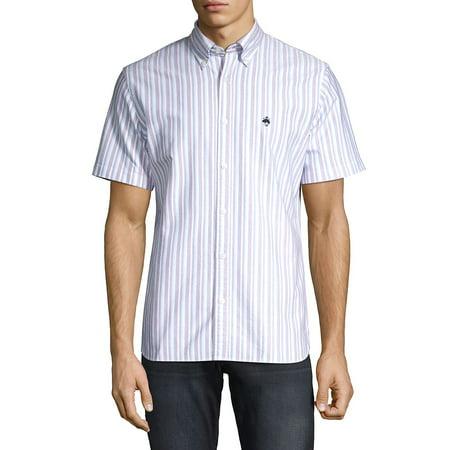 Striped Short-Sleeve Oxford Shirt Long Sleeve Two Pocket Oxford Shirt