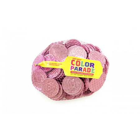Fort Knox Milk Chocolate 1.5-inch Coins - Pink Foil, 1 LB (Pink Chocolate)