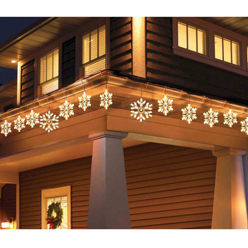 Holiday Time 9 Piece Twinkling Snowflake Icicle Christmas Lights Clear