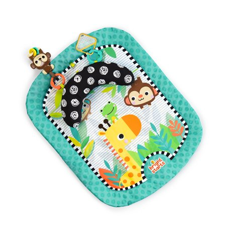Bright Starts Tummy Time Prop Mat - Giggle Safari, Ages Newborn + Tummy Time Activity Mat