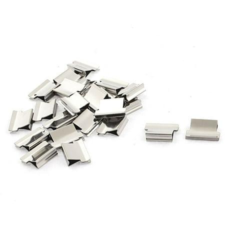 Unique Bargains Metal Refill Paper Filing Binding Clam Clip Stapler Dispenser Silver Tone 24pcs School Supplier (Binding Metal)