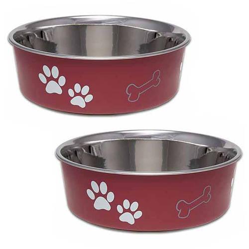 (2 Pack) Loving Pets Bella Small Bowl, Merlot