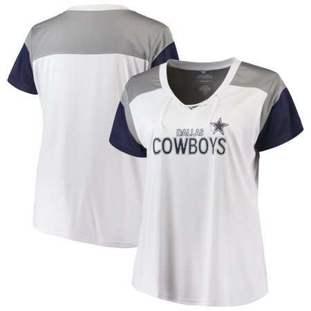 Women's White/Navy Dallas Cowboys Shimmer Lace-up V-neck T-Shirt - Dallas Cowboys Bucket