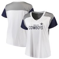 a2cd01c925d Product Image Women's White/Navy Dallas Cowboys Shimmer Lace-up V-neck T- Shirt