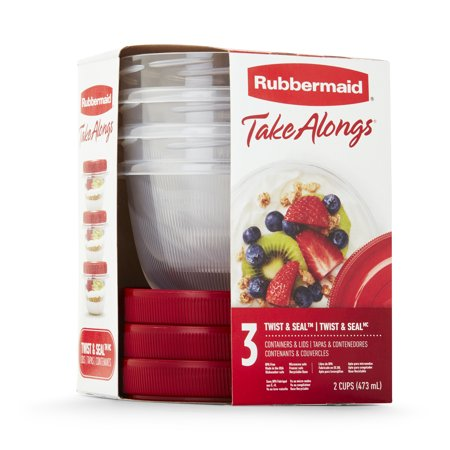 Rubbermaid Take Alongs Twist & Seal Liquid Storage, 3 Count Small Round Twist